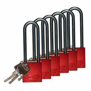ロックアウトツール アルミ製 パドロック 赤 76.2mm シャックル 6個入り|foresttech