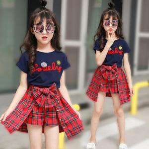 女の子 セットアップ キッズ半袖 Tシャツ ショットパンツスカート 2点セット ジュニア 可愛い 子供服 学生服 制服 団体服 セーラー服 卒業式 入学式 女の子 通学|fortuna-gemma