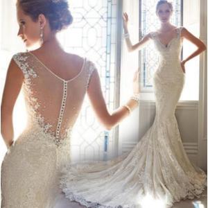ウェディングドレス マーメイドドレス 白 ロングドレス 花嫁ロングドレス /結婚式/二次会/パーティー/イベント トレーン パーティードレス|fortuna-gemma