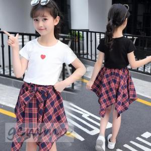 キッズセットアップ 女の子 子供服 キッズ半袖 Tシャツ スカートセット チェック柄 2点セット ジュニア 可愛い 子ども 子供セットアップ 夏 fortuna-gemma