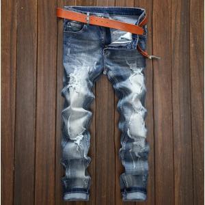 デニムパンツ メンズ ダメージ加工 ストレッチ  ボトムス ロングパンツ  デニム ジーンズ JEANS 新作 韓国ファッション メンズ  トレンド|fortuna-gemma