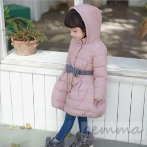 ロングコート子供 中綿コート キッズ かわいい 女の子コート ピンク 厚手 リボンベルト 綿入れ 3〜8歳|fortuna-gemma