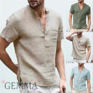 Tシャツ メンズ トップス リネンシャツ 半袖 vネック 夏物 tシャツ メンズTシャツ 麻 カジュ...