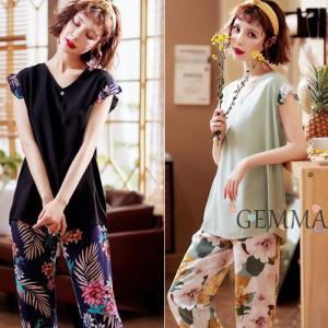 ルームウェア パジャマ レディース  夏 半袖tシャツ  ロングパンツ 花柄 上下セット 可愛い カジュアル 涼しい 韓国風 パジャマ 女性 部屋着 寝巻き|fortuna-gemma