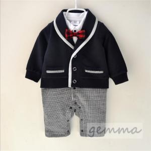 f53c073c421ea フォーマル スーツ 男の子 ベビー服 可愛い タキシード 赤ちゃん キッズ 出産祝い 結婚式 重ね着 ロンパース オールインワン 0-12ヶ月