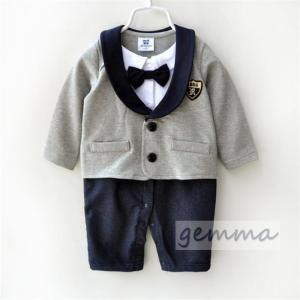 ロンパース オールインワン フォーマル スーツ 男の子 ベビー服 可愛い タキシード 赤ちゃん キッズ 出産祝い 結婚式 重ね着   66~90cm|fortuna-gemma