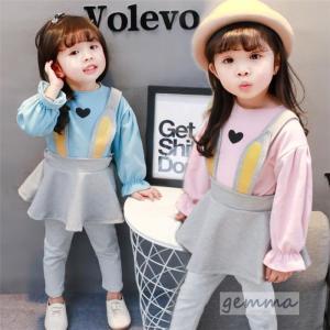 子供服 セットアップ キッズ  女の子 兎 吊りスカート 可愛い オールインワン 0-1-2-3歳 ベビー 70-100cm|fortuna-gemma
