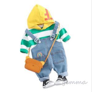 子供服 セットアップ キッズ  女の子 男の子  吊りパンツ デニムパンツ 2点セット 可愛い オールインワン  70-100cm|fortuna-gemma