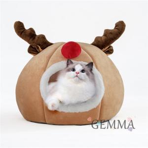 ペットベッド 猫 トナカイ 馴鹿 クリスマス  ふわふわ 猫ベッド  立体 テント 可愛い 暖かい もこもこ 保温 防寒 プレゼント|fortuna-gemma