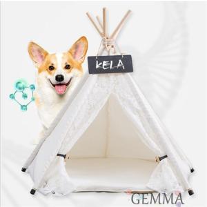 ペットベッド ペットテント 猫 犬 猫ベッド 犬ペット 立体 レース 小型犬 無地テント 可愛い 暖かい 保温 防寒 折り畳め 遊べ部屋|fortuna-gemma