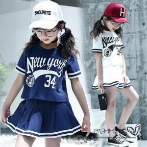 ジャージ 女の子 セットアップ  スカートセット 子供服 2点セット キッズ Tシャツ 半袖 かわいい  学院風 トレーリングウエア  120cm〜170cm|fortuna-gemma
