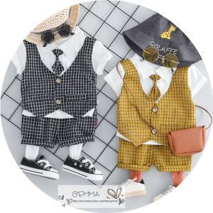 子供スーツ セットアップ キッズ タキシード  フォーマルスーツ シャツ  男の子  ベストTシャツ 重ね着 半袖 結婚式 誕生日 夏|fortuna-gemma