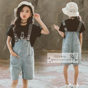 子供服 女の子 セットアップ Tシャツ ハーフパンツ キッズ 2点セット 半袖 Tシャツ+デニムサロベットおしゃれ オーバーオール fortuna-gemma