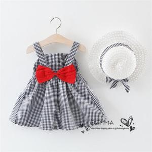 女の子 ワンピース 子供服 ミニ丈 ワンピース 赤ちゃん キッズ 夏 海  帽子付き  2点セット  可愛いドレス 綿 コットン  1~3歳 70~100cm|fortuna-gemma