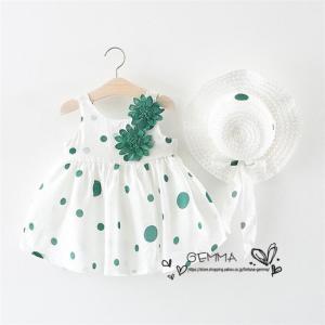 子供服 ミニ丈 ワンピース 女の子 ワンピース 赤ちゃん キッズ 夏 海  帽子付き  2点セット  可愛いドレス 綿 コットン  1~3歳 70~100cm|fortuna-gemma