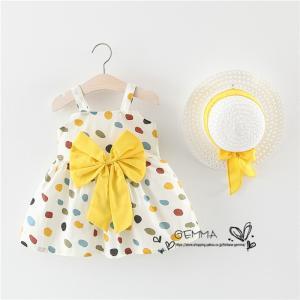 ワンピース 女の子 子供服 ミニ丈  ワンピース 赤ちゃん キッズ 夏 海  帽子付き  2点セット  可愛いドレス 綿 コットン  1~3歳 70~100cm|fortuna-gemma