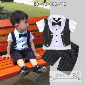 フォーマル スーツ 男の子  タキシード  赤ちゃん 子供服 ベビー服 紳士 カバーオール  キッズ  セットアップ 七五三 結婚式 誕生日 半袖|fortuna-gemma