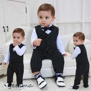子供 男の子 フォーマル スーツ 紳士風 タキシード風  ベビー服 赤ちゃん 上下セット おしゃれ  出産祝い 結婚式 誕生日 お宮参り子供 男の子|fortuna-gemma