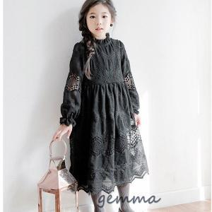 韓国子供服 長袖ワンピース チュールワンピース 女の子 キッズ 可愛い 春秋 黒いワンピース 発表会 卒園式 入学式 パーティ 子供ドレス ワンピースドレス|fortuna-gemma
