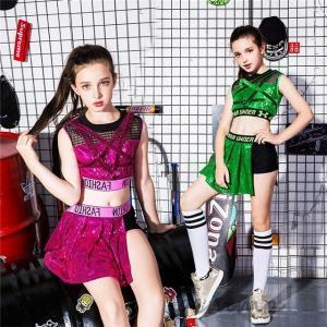 キッズ ダンス衣装 ヒップホップ キラキラ スパンコール 女の子 スカート 子供 HIPHOP チア チアガール セットアップ ジャズダンス 応援団 ステージ衣装|fortuna-gemma