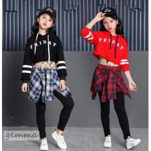 キッズ ダンス衣装 ヒップホップ 2点セット グルーズ 子供 ダンス衣装 セットアップ ダンストップス ダンスパンツ チア ジャズダンス|fortuna-gemma