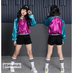 キッズ ダンス衣装 ヒップホップ 子供 ダンス衣装 長袖 ショートパンツ セットアップ ダンストップス ダンスパンツ チア ジャズダンス 体操服|fortuna-gemma
