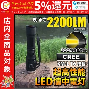 LED懐中電灯 フラッシュライト 強力 最強クラス 充電式 防水 LEDライト 18650リチウムイオン充電池&専用充電器 付属 fl-s018