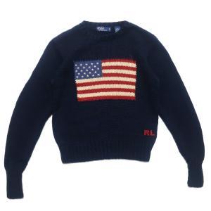 ポロラルフローレン 国旗 ロゴ コットン ニット セーター ネイビー サイズ表記:ボーイズ S