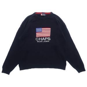 ポロラルフローレン  チャップス 国旗 ロゴ コットン ニット セーター ネイビー サイズ表記:XL