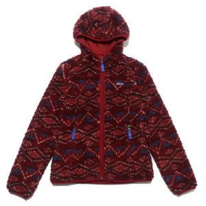 パタゴニア レトロX ジャケット フリース フーディ 総柄 サイズ表記:WOMEN'S M