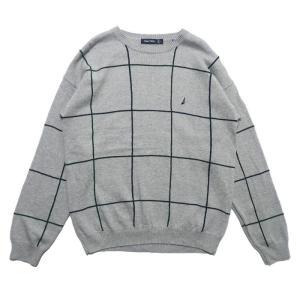 ノーティカ ワンポイントロゴ コットン ニット セーター グレー サイズ表記:L