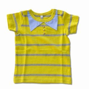 ポロシャツ風なデザインになったボーダーTシャツです。 80、90サイズのみ肩口にスナップボタンが付き...