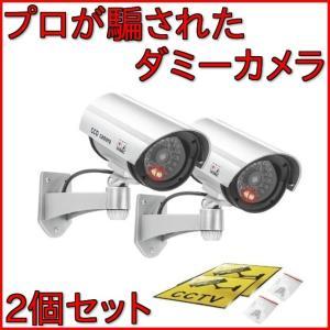 防犯カメラ 屋外 ダミー カメラ 家庭用 ダミーカメラ 屋外用 防犯 LED 点灯 電池式 2個セット|four-piece