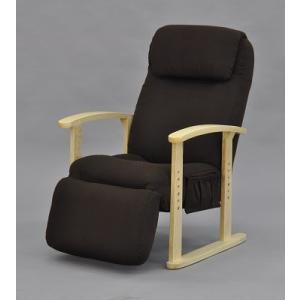 【完売】ハイバック 高座椅子 ブラウン 代引き不可 送料無料(沖縄・離島不可)組立椅子 1人掛け椅子 リビングチェア いす イス リクライニングチェア|fourleaf