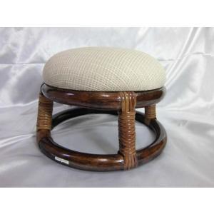 丸ミニスツール 籐家具 (座面クッション)アウトレット品(シミ) 正座椅子 ラタン家具|fourleaf