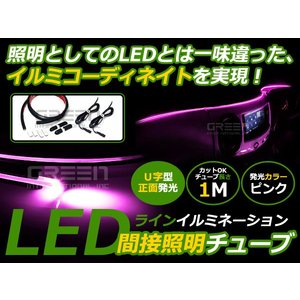1M/100cm LEDマジックファイバー アンビエントライト 正面発光 ピンク LEDテープ ラインイルミ LED 外装 テープ LEDラインイルミ|fourms