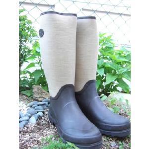 カントリー 『バーリーキャンバス & ブラウンラバー』 ローラアシュレイ ガーデン 長靴 レインブーツ ウェリントンブーツ|fourseasons