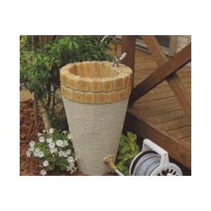 水栓柱 立水栓ユニット コーンタイプ 2口仕様 コテ引き模様 ブライトイエロー+アイボリー (蛇口別売り)|fourseasons