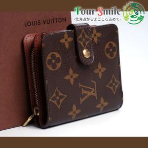 【使用わずか 極美品】ルイヴィトン Louis Vuitton モノグラム コンパクトジップ 二つ折り 財布 レザー メンズ レディース 2909|foursmile20
