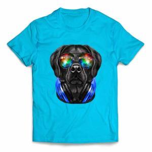 【黒毛 ラブラドルレトリバー ドッグ 犬 いぬ サングラス ヘッドフォン】キッズ 半袖 Tシャツ b...