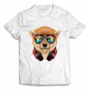 【仔犬の 柴犬 ドッグ 犬 いぬ サングラス ヘッドフォン】キッズ 半袖 Tシャツ by Fox R...