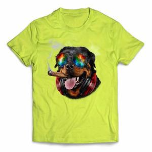 【ロットワイヤー ドッグ 犬 いぬ サングラス ヘッドフォン たばこ】キッズ 半袖 Tシャツ by ...
