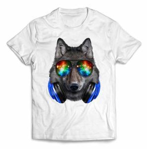 【狼 オオカミ サングラス ヘッドフォン】キッズ 半袖 Tシャツ by Fox Republic