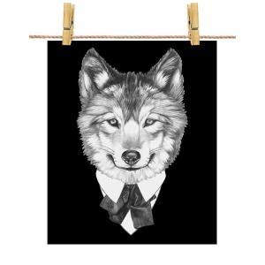 ポストカード オオカミ 狼 スーツ 動物 by Fox Republic