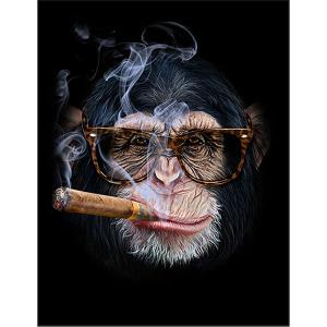 【チンパンジー・眼鏡・たばこ】ポストカード 黒背景