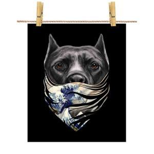 【黒毛のアメリカンピットブル ドッグ 犬 いぬ 浮世絵 バンダナ】ポストカード by Fox Rep...