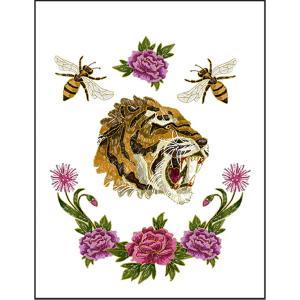 【虎・ハチ・薔薇】ポストカード