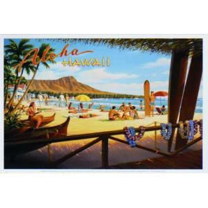 アート ポスター フレーム付 【Aloha Hawaii】 Artist/Unkown Size/223×332mm( 既製サイズ ) frame-shop