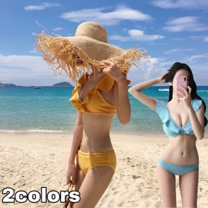 水着 バンドゥ 水着 韓国 バンドゥビキニ フリル バンドゥブラ タンキニ セット ビキニ 水着レディース 体型カバー ホルターネック 大きいサイズ|francekids