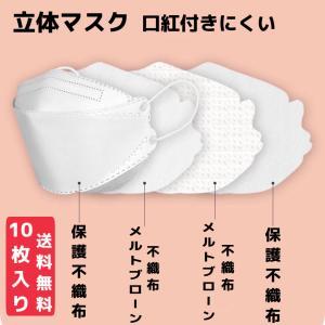 マスク 不織布 KF94 柳葉型 4層構造 平ゴム 10枚入 白 黒 グレー キャメル 3D 立体 ...